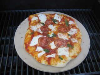 Pizza on grill